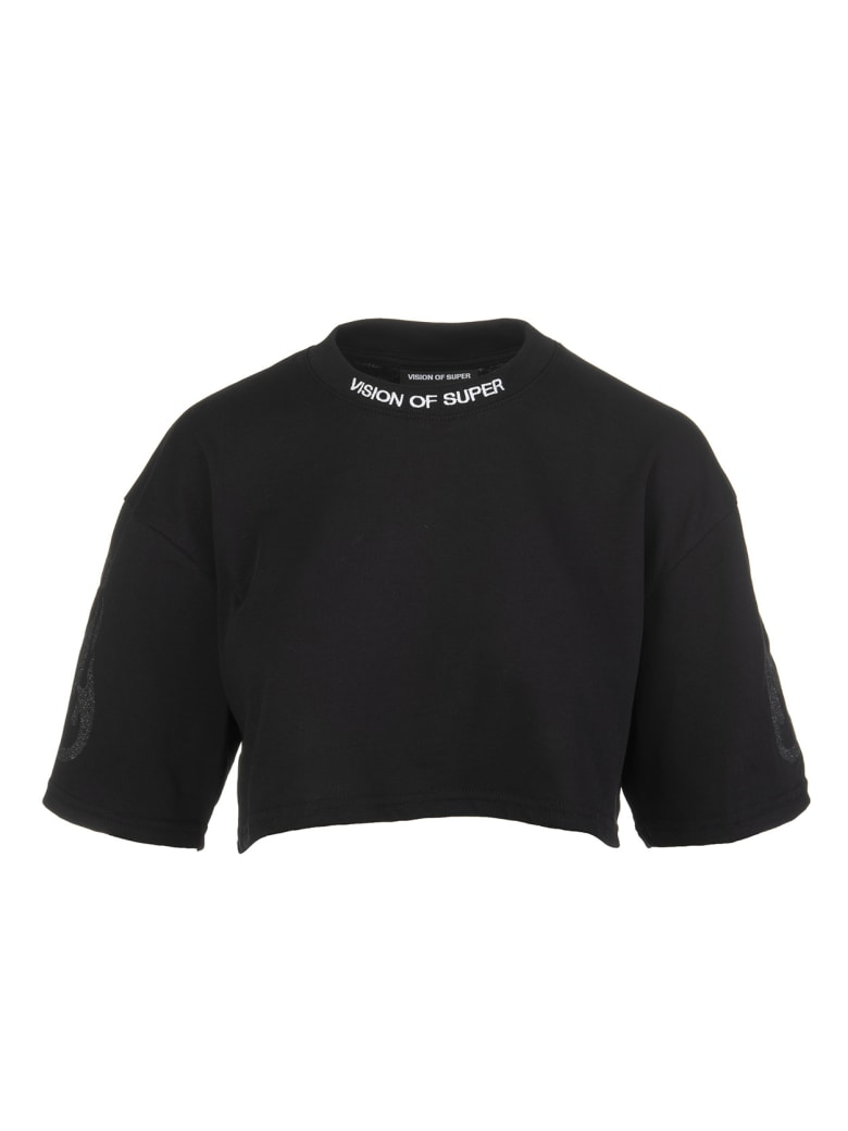 Vision of Super Black Cropped Woman T-shirt With Glitter Black Flame - Black/orange