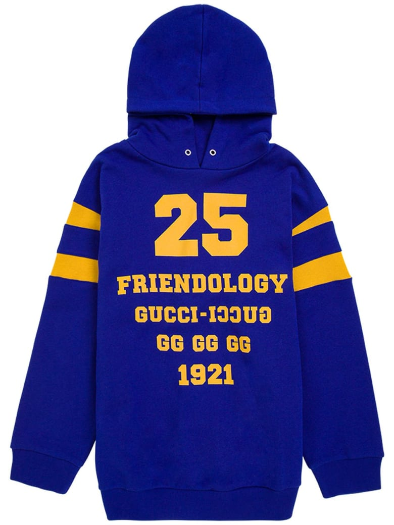 Gucci Blue Cotton Hoodie With Print - Blu