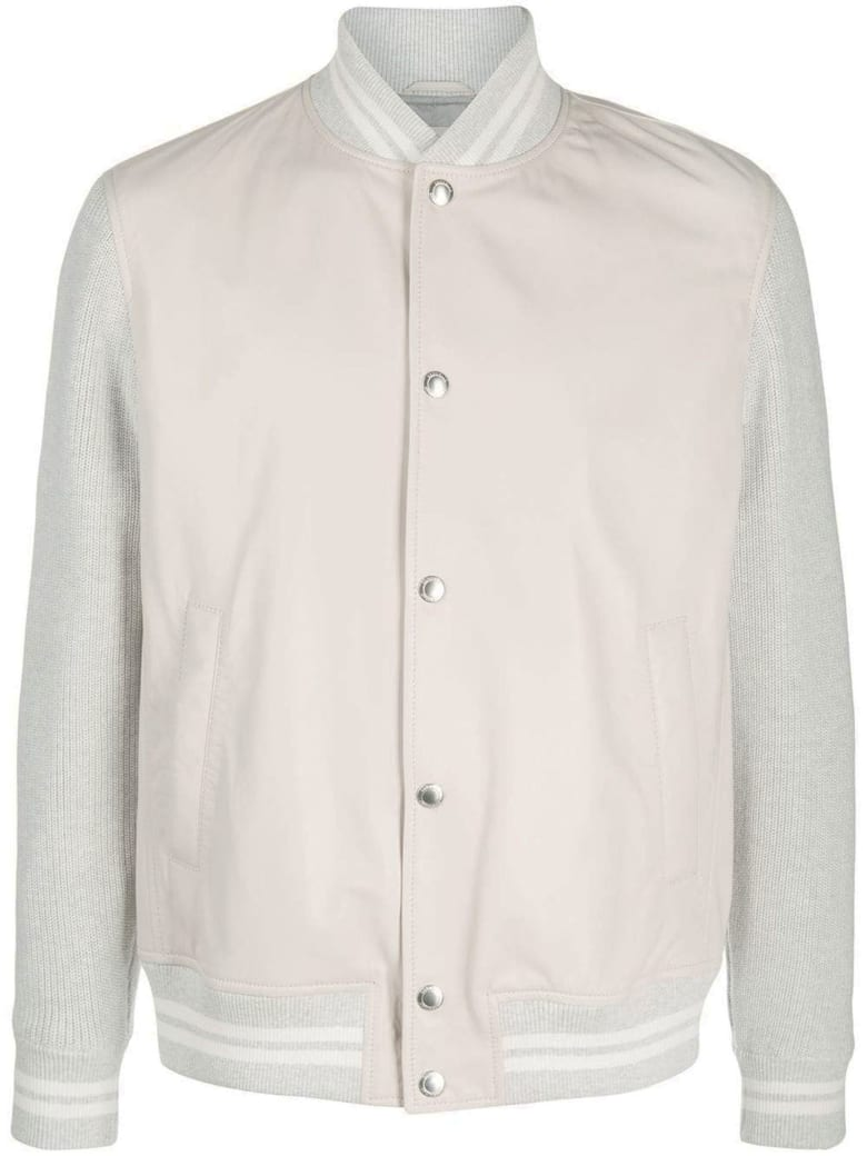 Brunello Cucinelli Grey Leather And Cotton Bomber Jacket - Beige