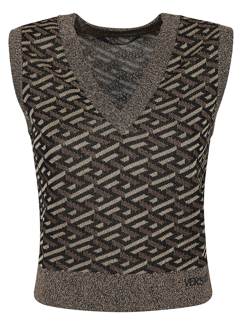 Versace V-neck Vest - Black/Gold