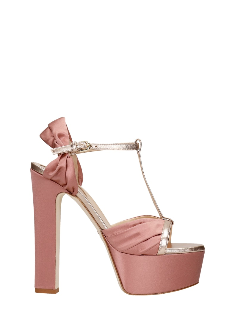 Elie Saab Sandals In Rose-pink Satin - rose-pink