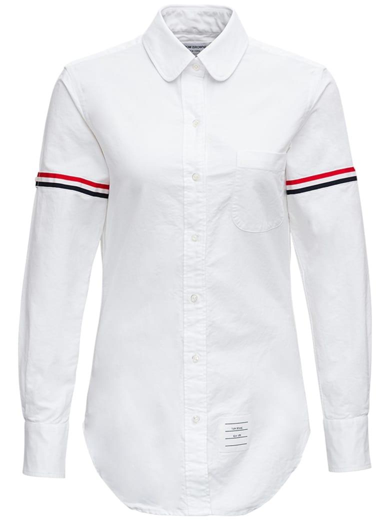Thom Browne White Cotton Shirt With Rwb Stripe Inserts - White