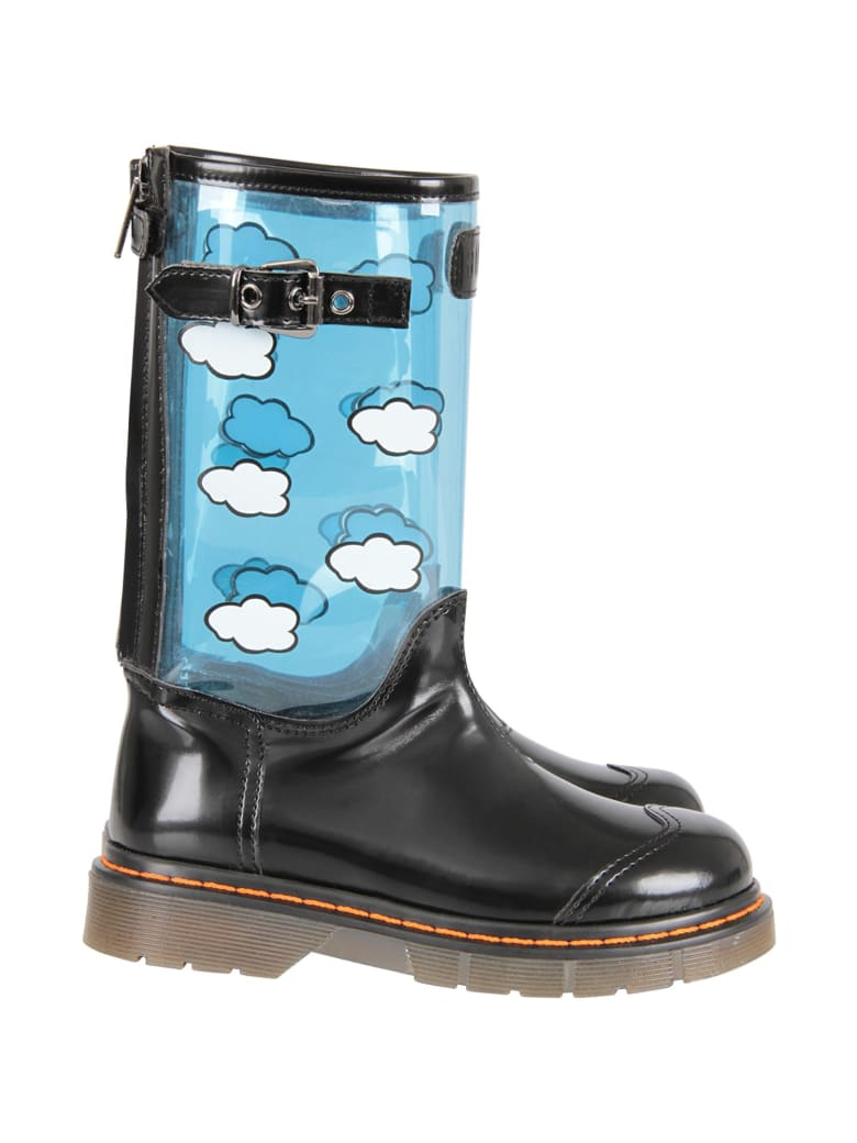 Gallucci Black High Boot With White Clouds For Girl - Black
