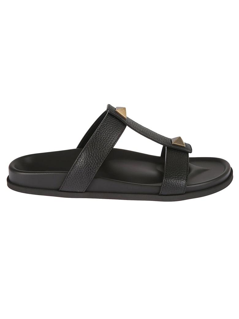 Valentino Garavani Stud Detail Flat Sandals - Black