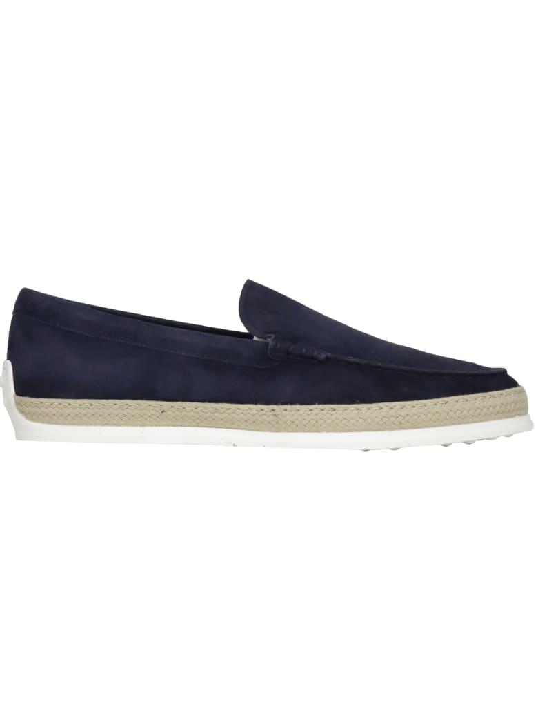 Tod's Nuova Pantofola Rafia Flat Shoes - BLUE