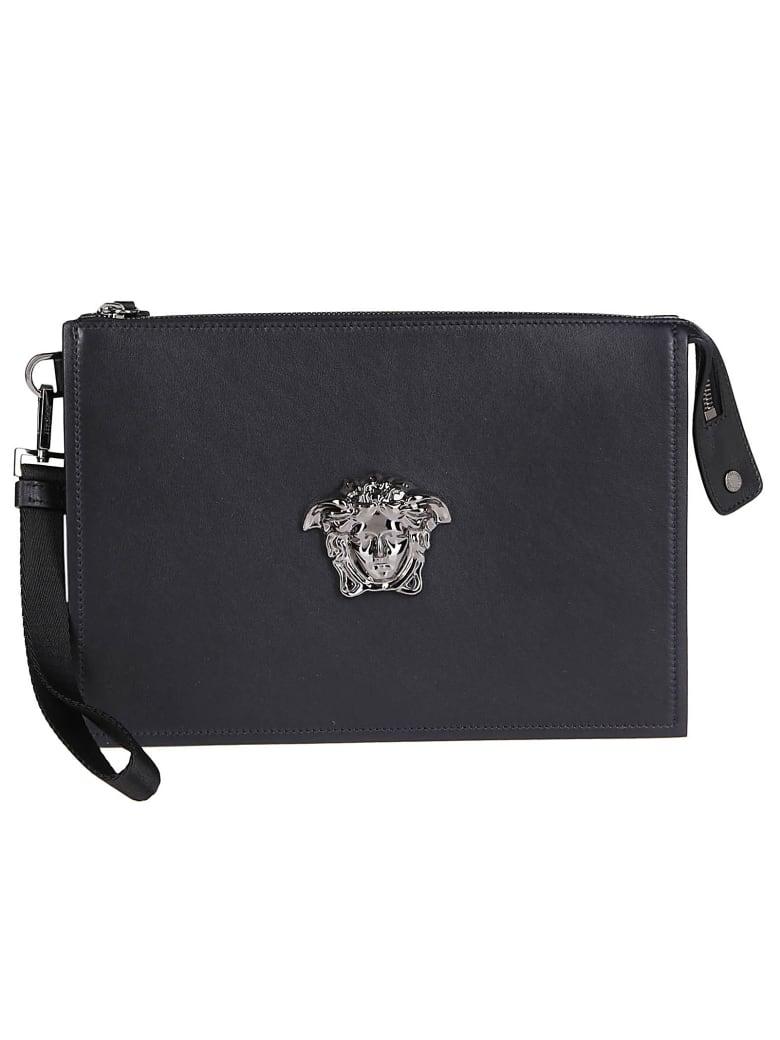 Versace Black Leather Medusa Pouch - Nero