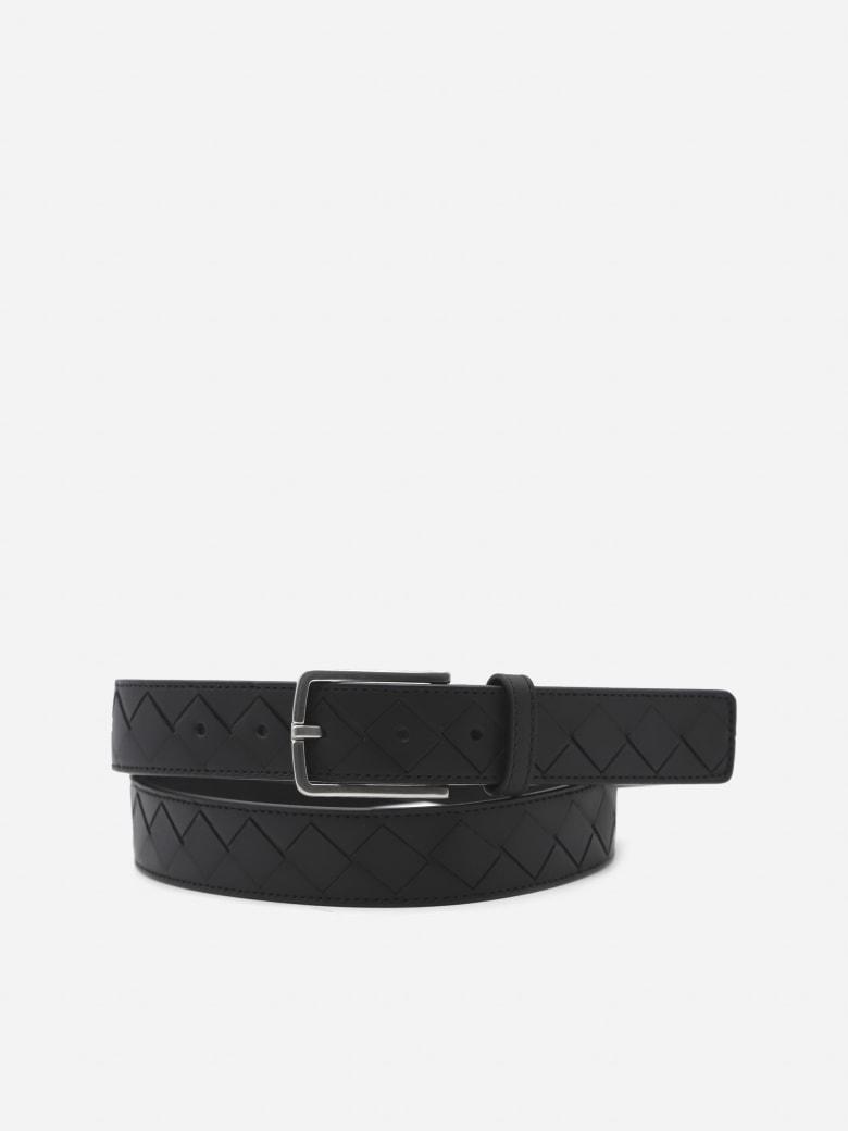 Bottega Veneta Leather Belt With Woven Pattern - Black