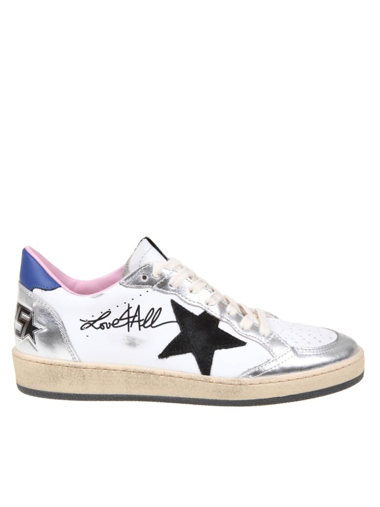Golden Goose Ballstar White And Silver Laminated Sneakers - Bianca