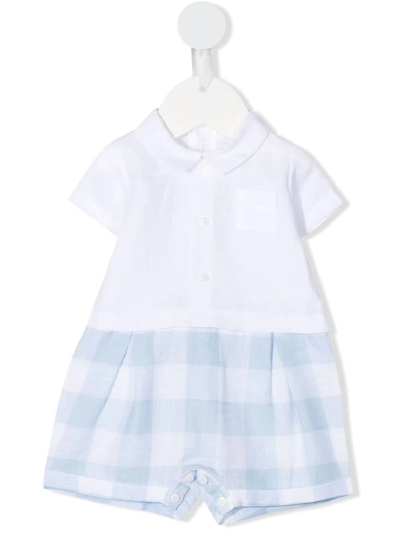 Il Gufo Newborn Short Linen Jumpsuit - Azzurro