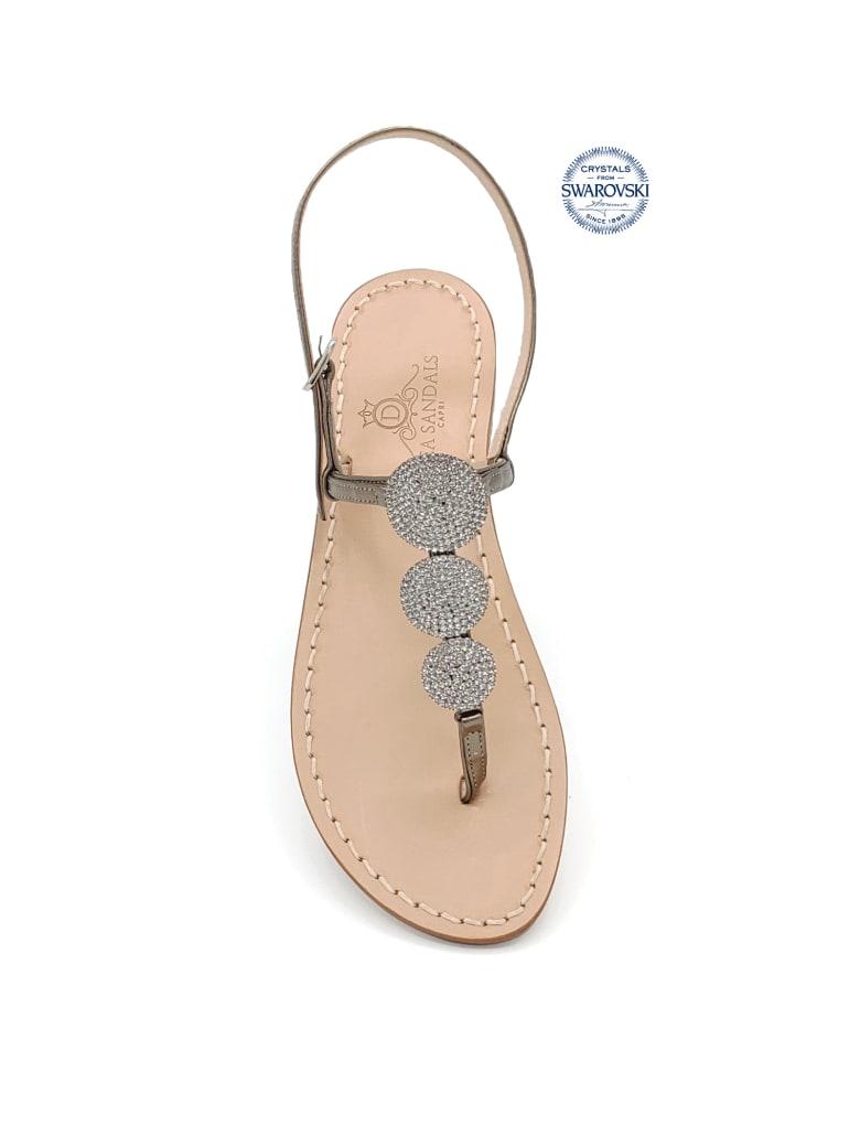 Dea Sandals Fari Di Capri Jewel Flip Flops Sandals - gunmetal, natural crystal
