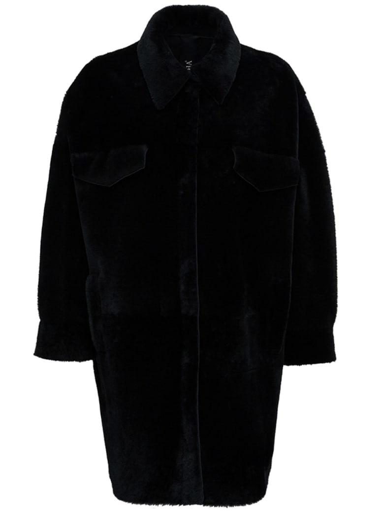 Blancha Leather And Merino Wool Reversible Black Coat - Black