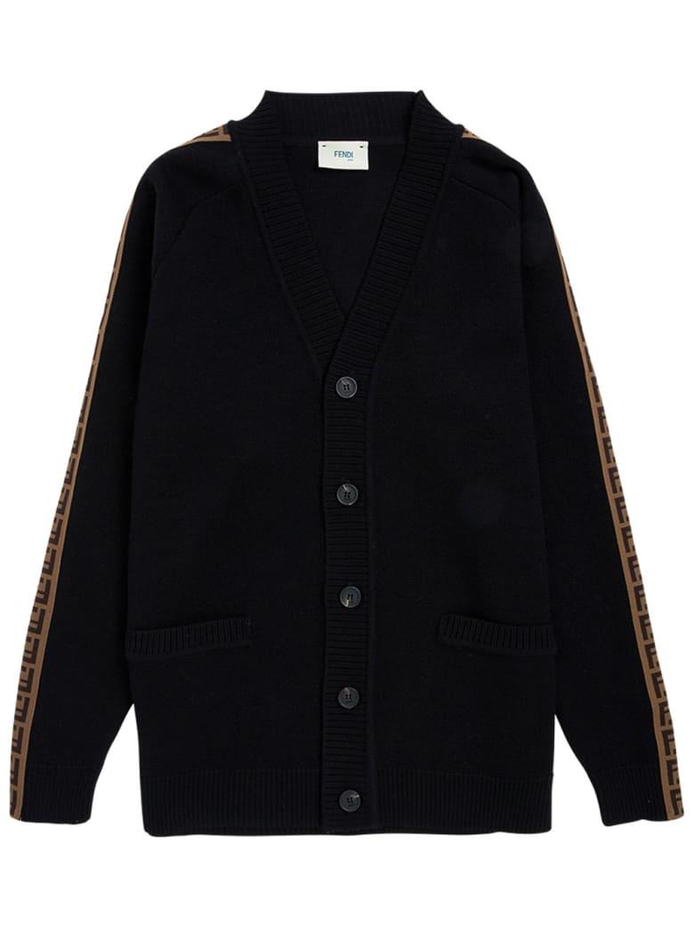 Fendi Wool Cardigan With Ff Side Bands - Black