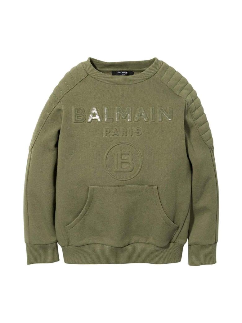 Balmain Green Teen Sweatshirt With Frontal Logo