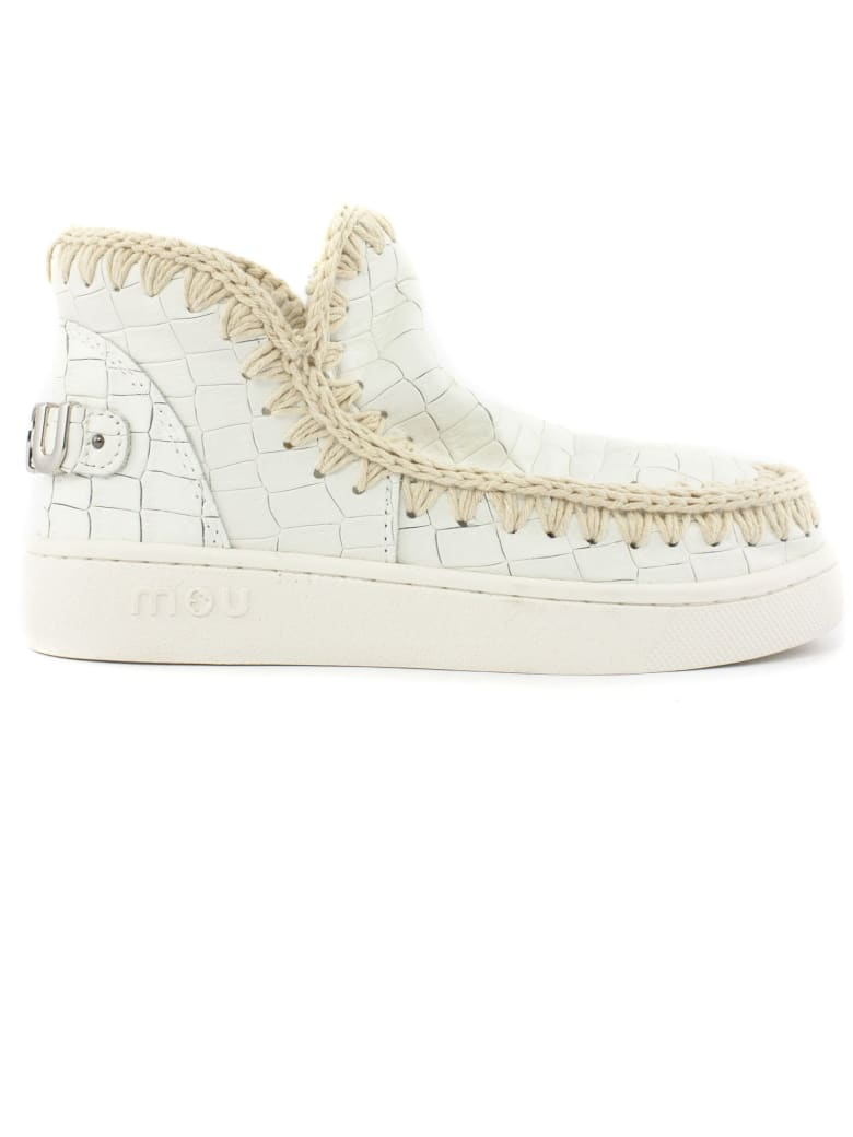 Mou White Croco Leather Eskimo Sneaker - Bianco
