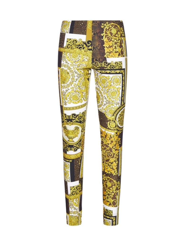 Versace Barocco Print Pleated Leggings - Oro marrone bianco
