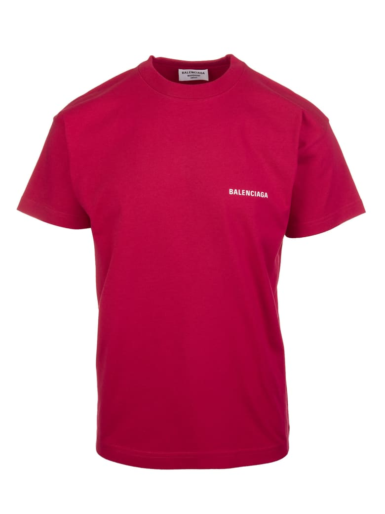 Balenciaga Unisex Red Balenciaga Wide Line T-shirt - Raspberry/white