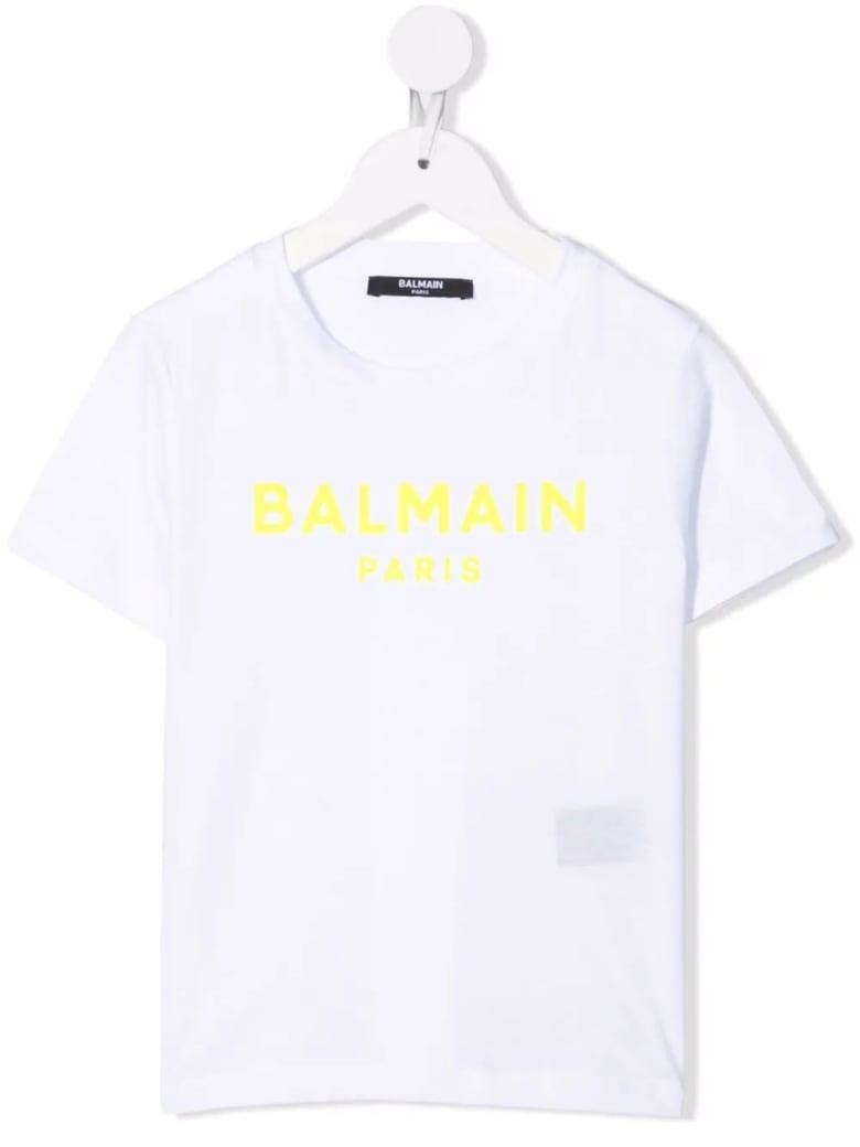 Balmain Kids White T-shirt With Yellow Velvet Logo