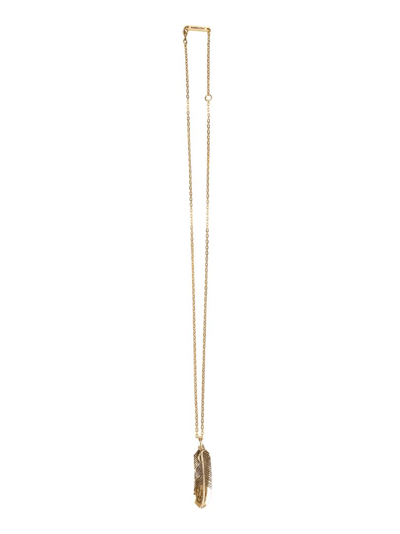 AMBUSH Feather Charm Necklace - GOLD