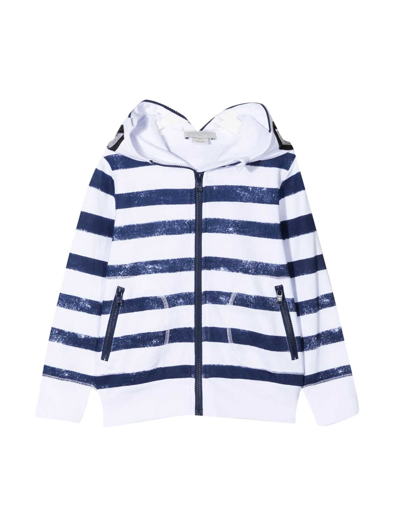 Stella McCartney White Sweatshirt With Blue Stripes - Blu
