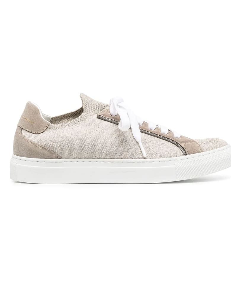 Brunello Cucinelli Runners In Sparkling Knit And Suede - Beige