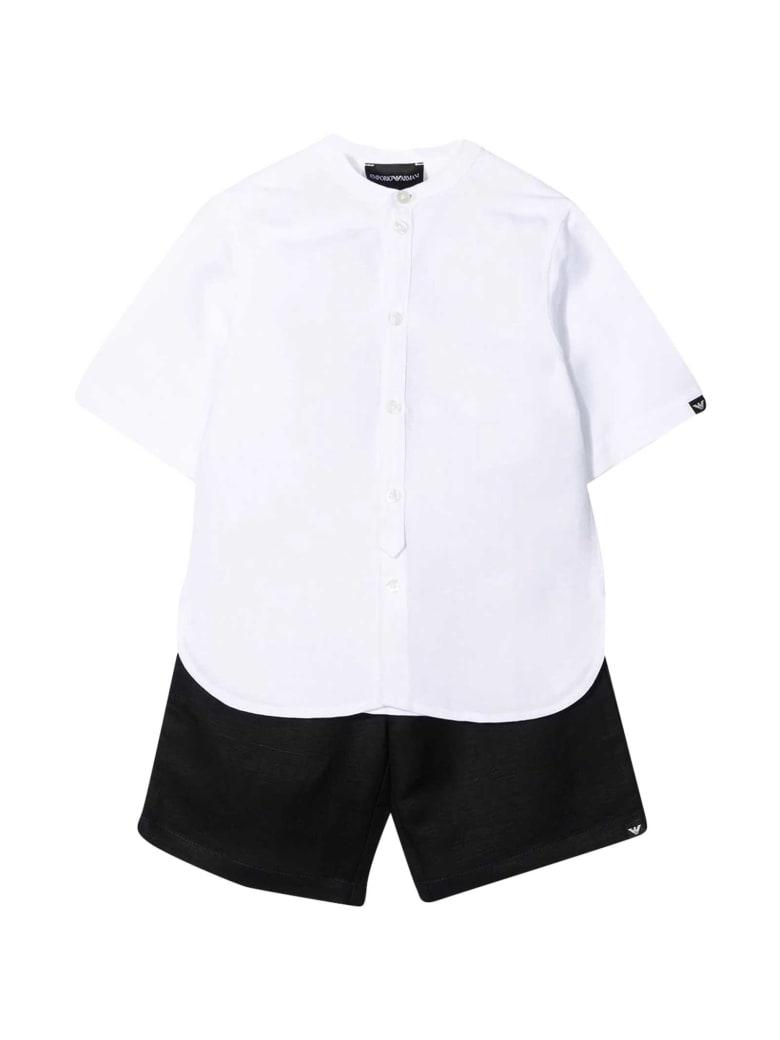 Emporio Armani Shirt And Shorts Set - Bianco