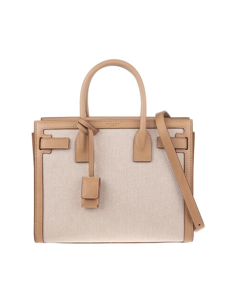Saint Laurent Baby Sac De Jour Bag In Canvas And Camel Leather - Nat.beige/vint.bro.gold