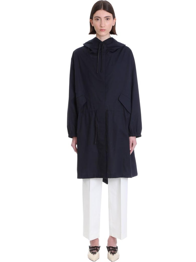 Jil Sander Coat In Blue Cotton - BLUE