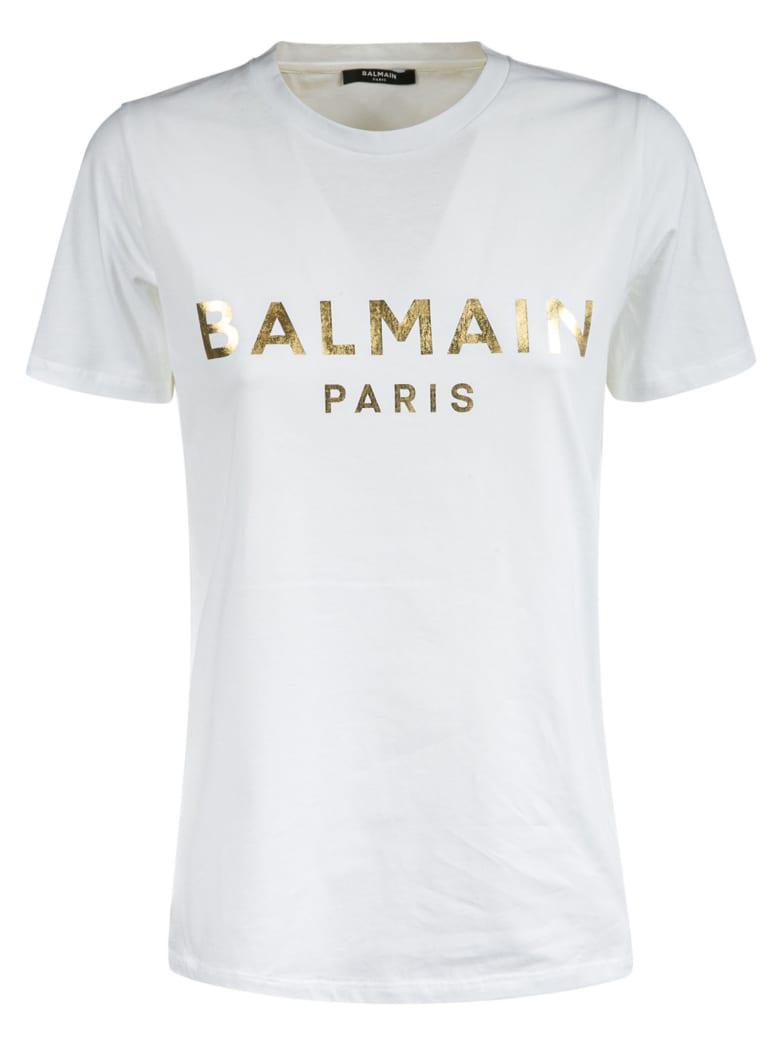 Balmain Metallic Logo T-shirt - White/Gold