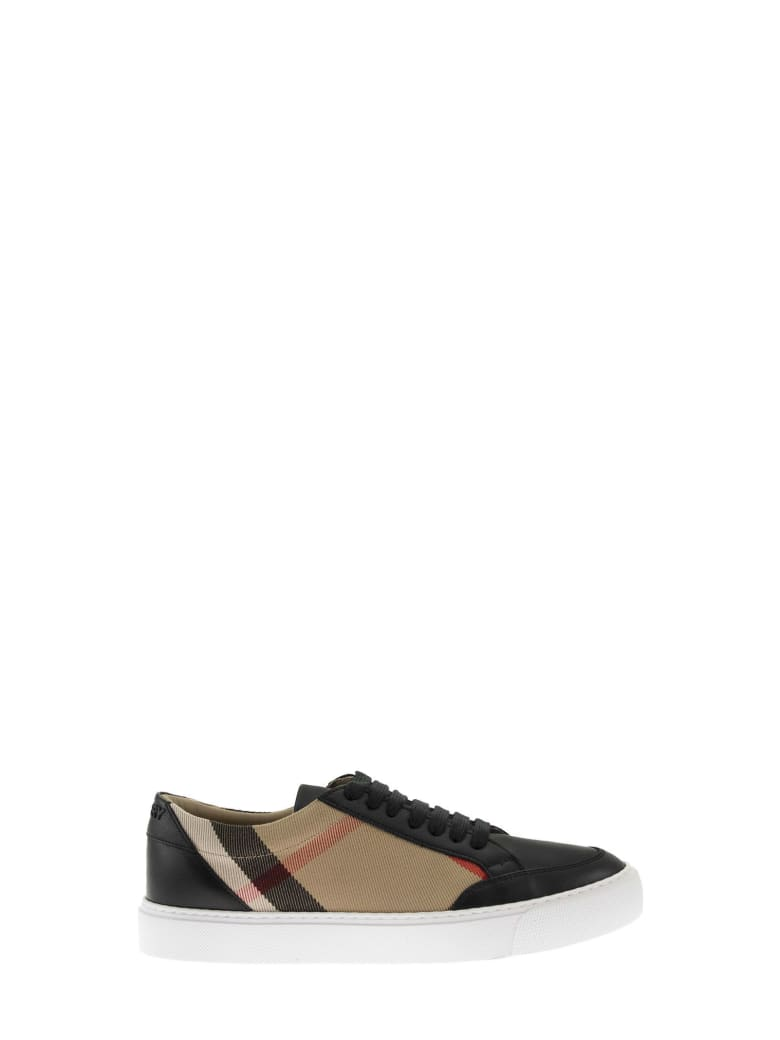 Burberry New Salmond - House Check And Leather Sneakers - Black