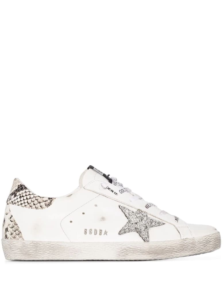 Golden Goose Woman White Super-star Sneakers With Python Spoiler And Silver Glitter Star