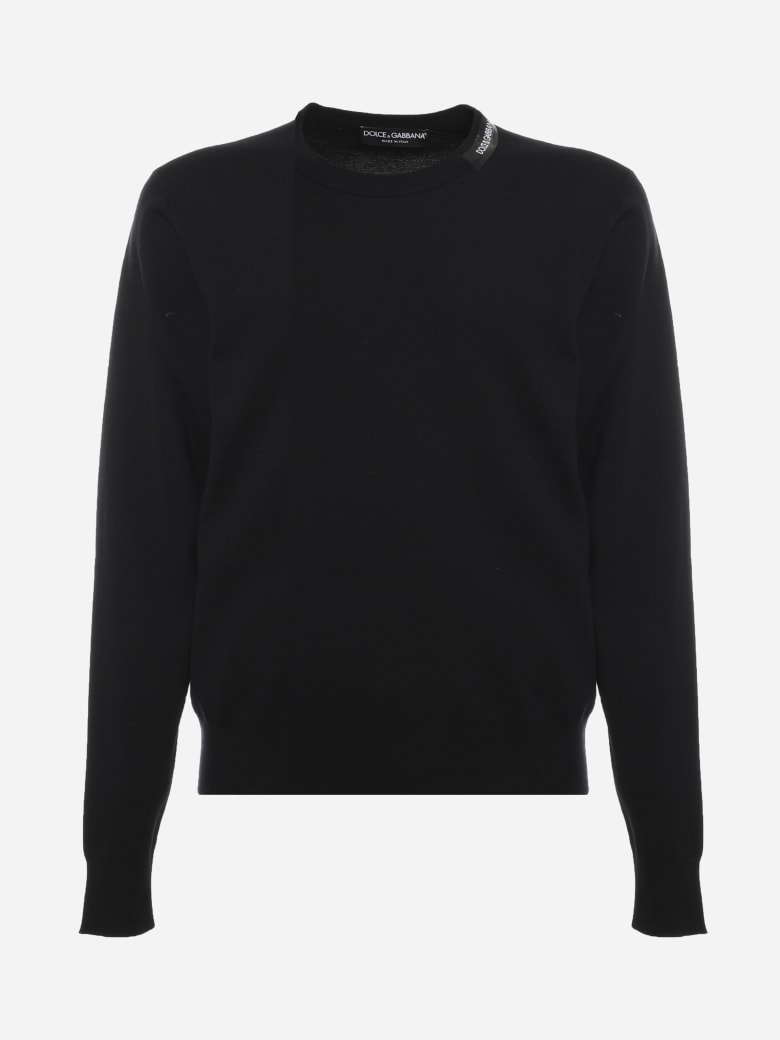 Dolce & Gabbana Pullover In Silk Blend With Contrasting Logo Band - Black