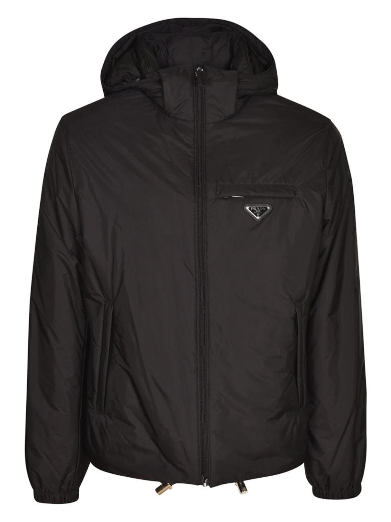 Prada Logo Plaque Raincoat - Black