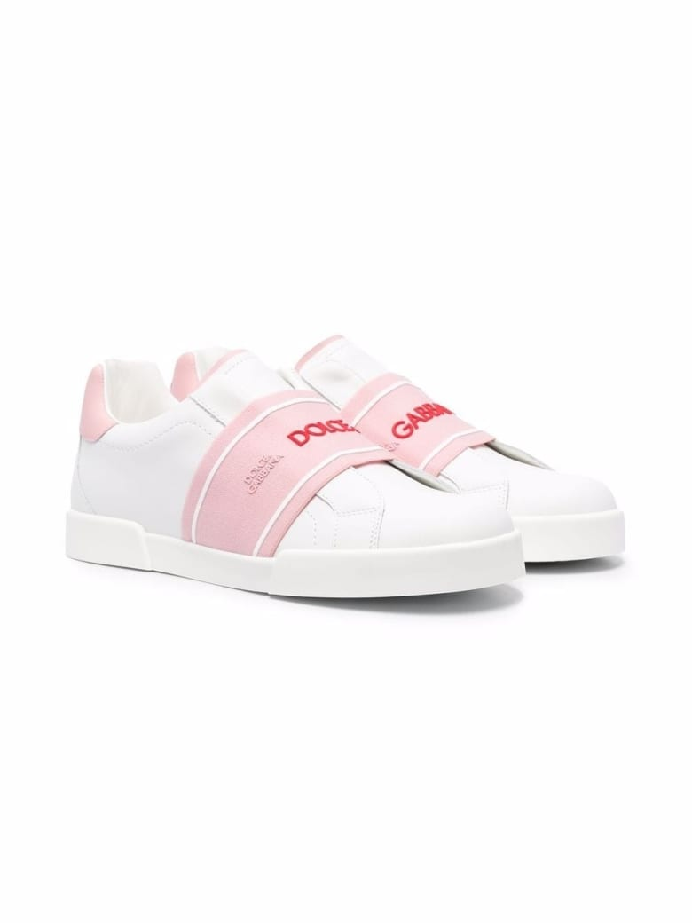 Dolce & Gabbana Leather Sneakers With Logo Band - White