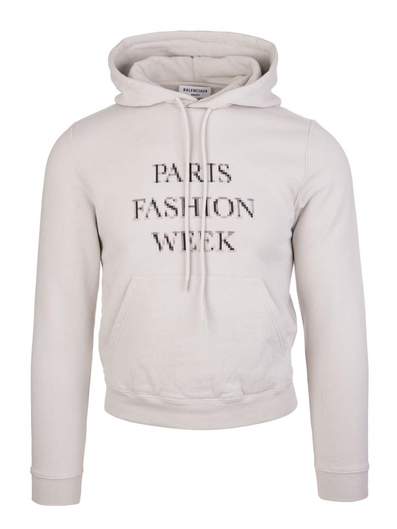 Balenciaga Unisex Grey Fashion Week Shrunk Hoodie - Cement grey/black