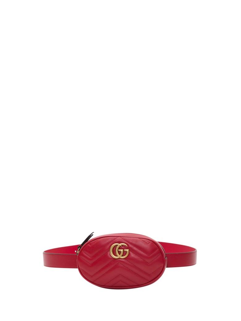 Gucci Gg Marmon Belt Bag In Chevron Leather - Rosso
