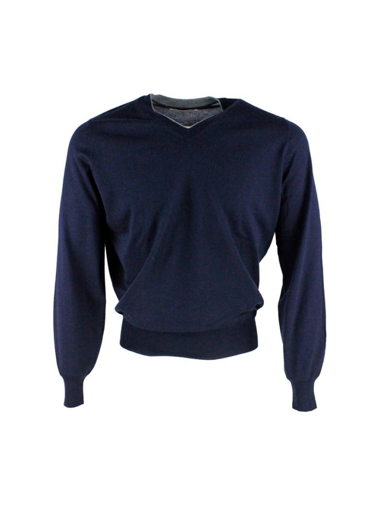 Brunello Cucinelli V-neck Sweater - Blu