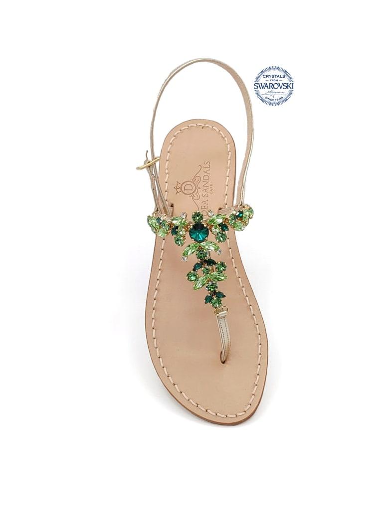 Dea Sandals Scopolo Jewel Thong Sandals - gold, green
