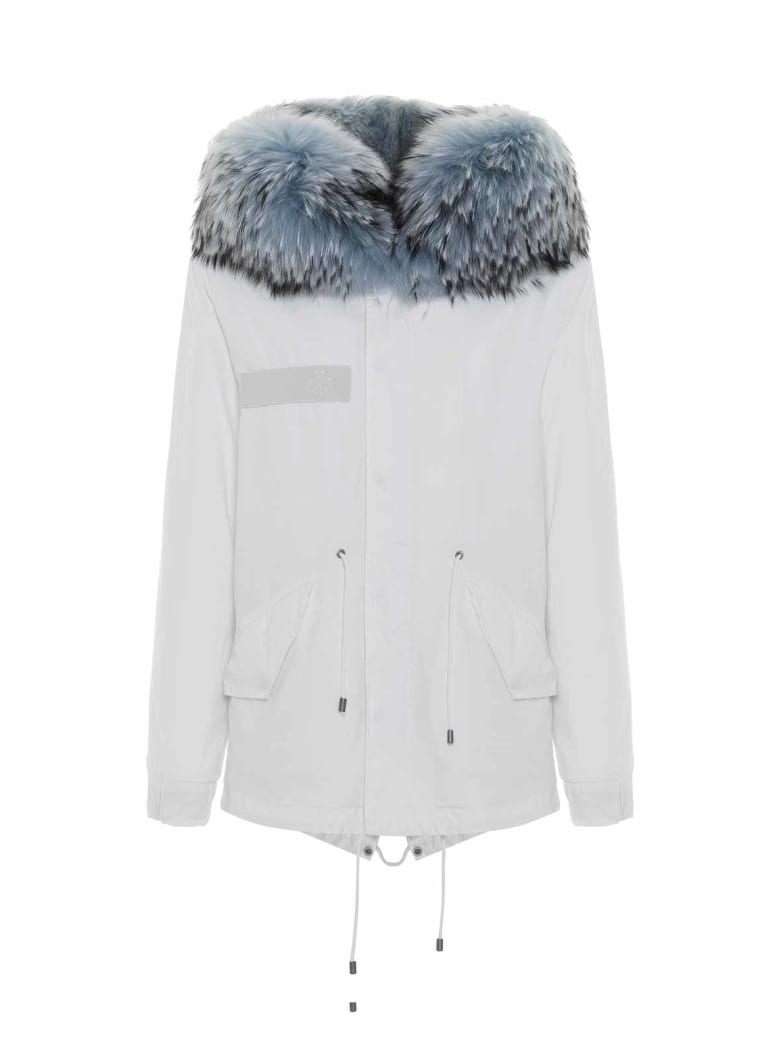Mr & Mrs Italy Jazzy Mini Parka For Woman With Raccoon Fur - OLD IVORY / WHITE / ICE BLUE