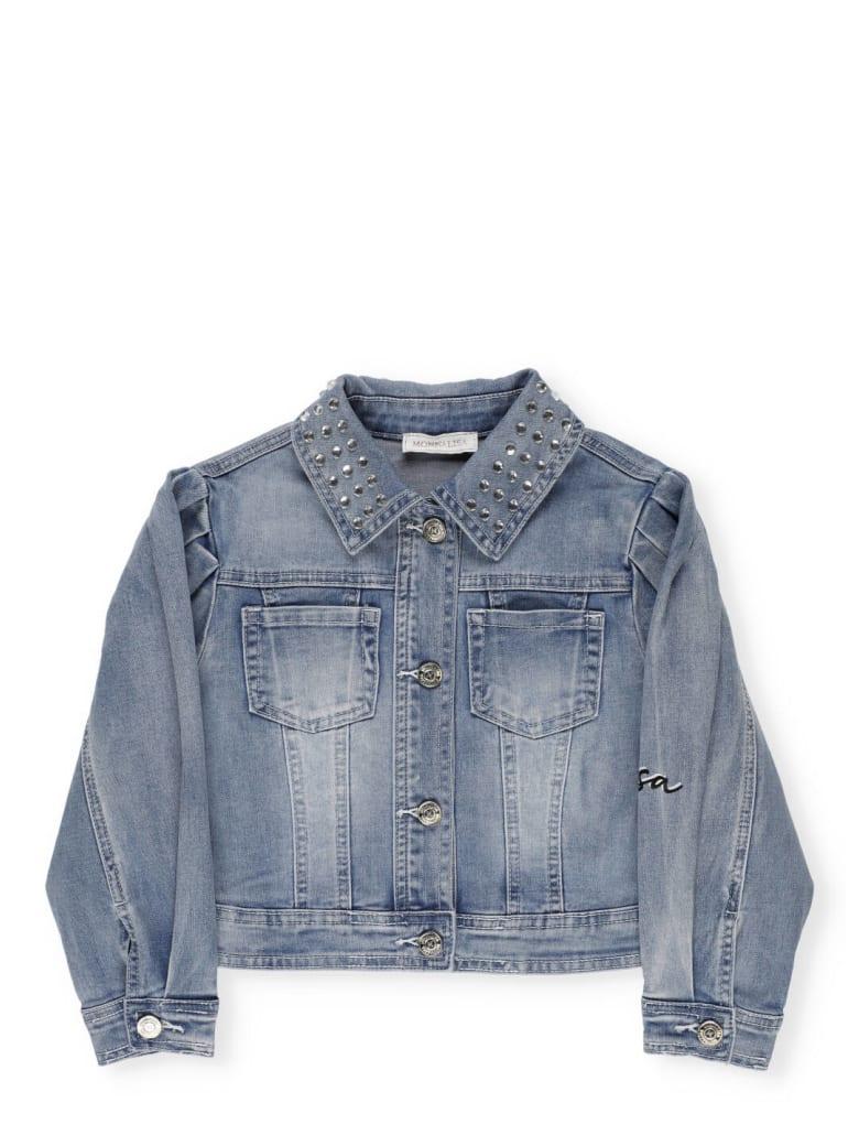 Monnalisa Cotton Blend Jeans Jacket - Stone Bleach