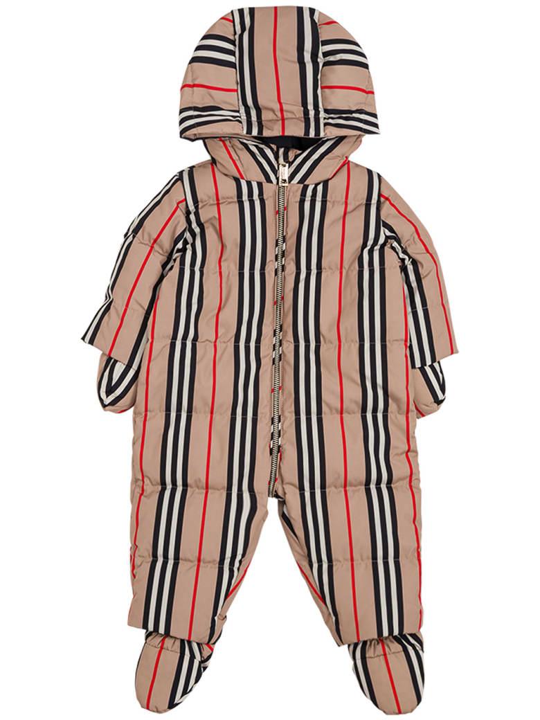 Burberry Icon Stripe Nylon Onesie With Hood - Beige