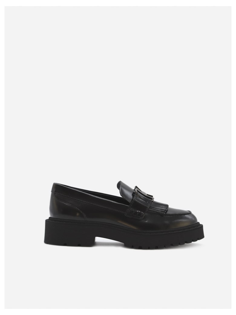 Hogan Leather Loafers With Metal Logo Detail - Black