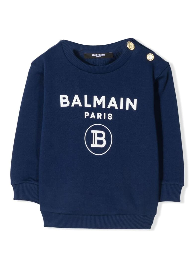 Balmain Blue Cotton Sweatshirt - Bluette