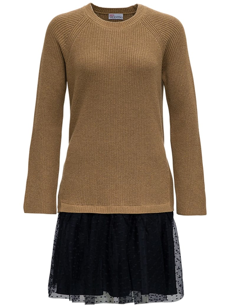 RED Valentino Wool And Point D'esprit Tulle Dress - Beige