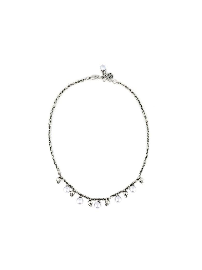 Alexander McQueen Short Necklace Pearls - Silver