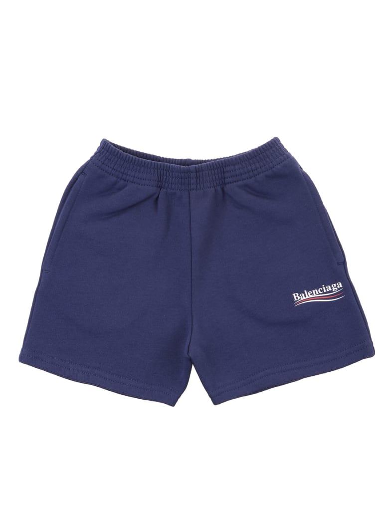 Balenciaga Blue Balenciaga Political Campaign Kid Bermuda Shorts - Pacific blue/white