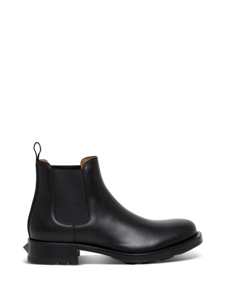 Valentino Garavani Roman Stud Ankle Boots In Black Leather - Black