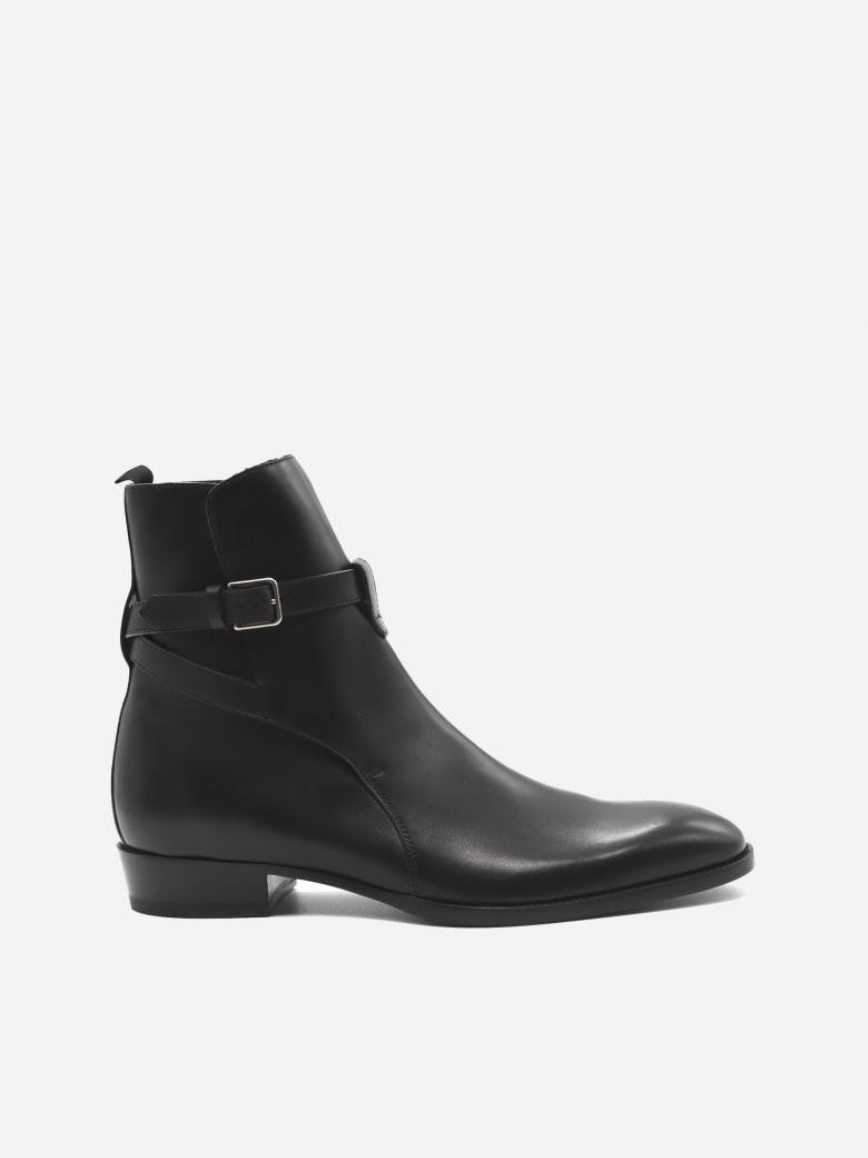 Saint Laurent Wyatt Jodhpur Leather Ankle Boots - Black