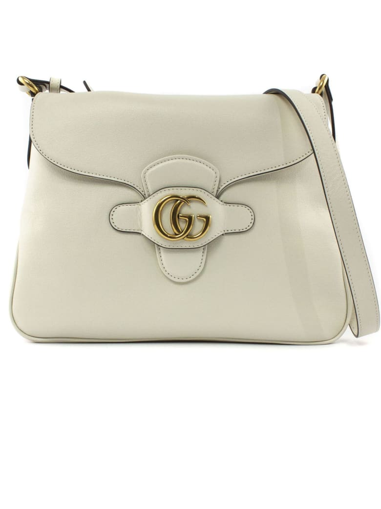 Gucci White Leather Messenger Bag - Avorio