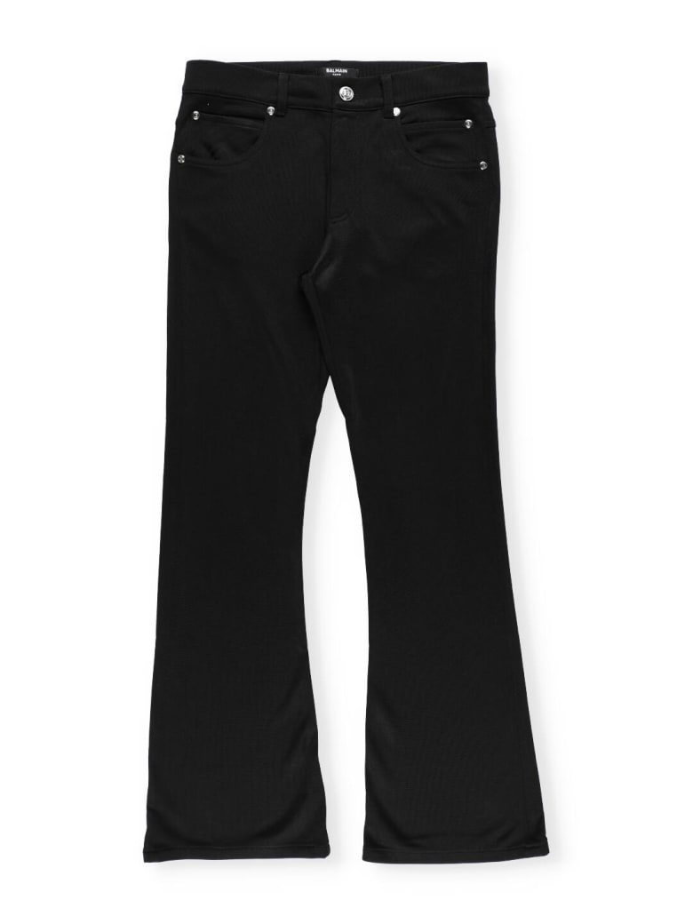 Balmain Stretch Trousers With Embroidery - Black