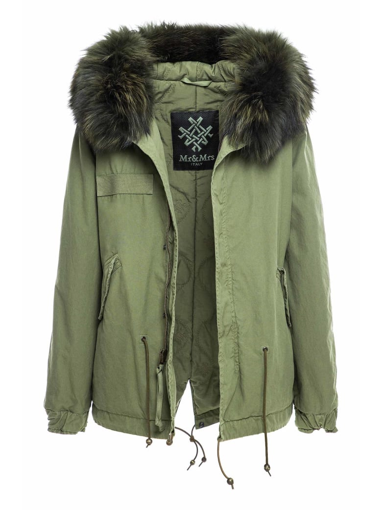 Mr & Mrs Italy Exclusive Fw20 Icon Parka: Army Mini Parka Raccoon Fur - ARMY